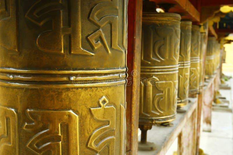 Gebet drehen herein buddhistisches Kloster stockbilder