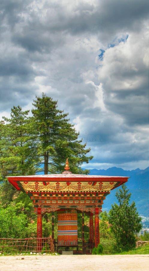 Gebet drehen herein das Semtokha Dzong in Thimphu, Bhutan stockfoto
