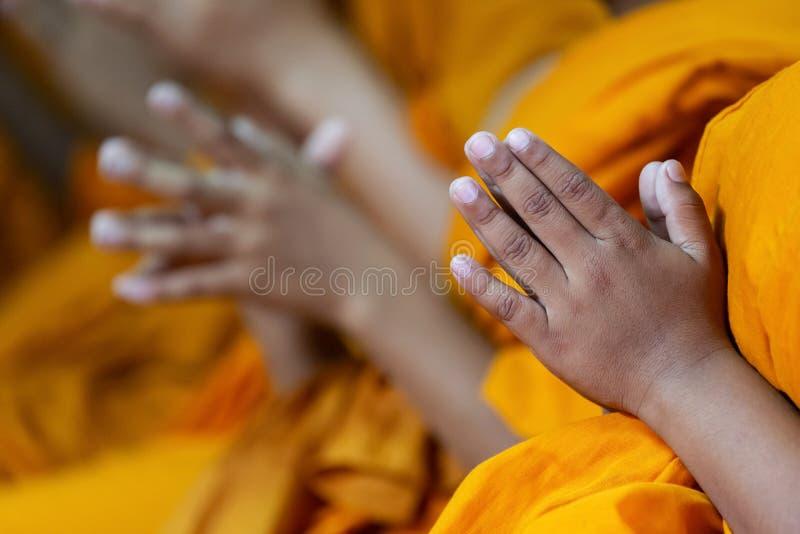 Gebet Hände von Jungenmönchen amüsiert buddhistisch für asiatische Danksagung lizenzfreie stockfotos