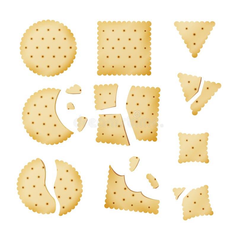 Gebeten Chip Biscuit Cookie Vector Cracker in Verschillende Vormen vector illustratie