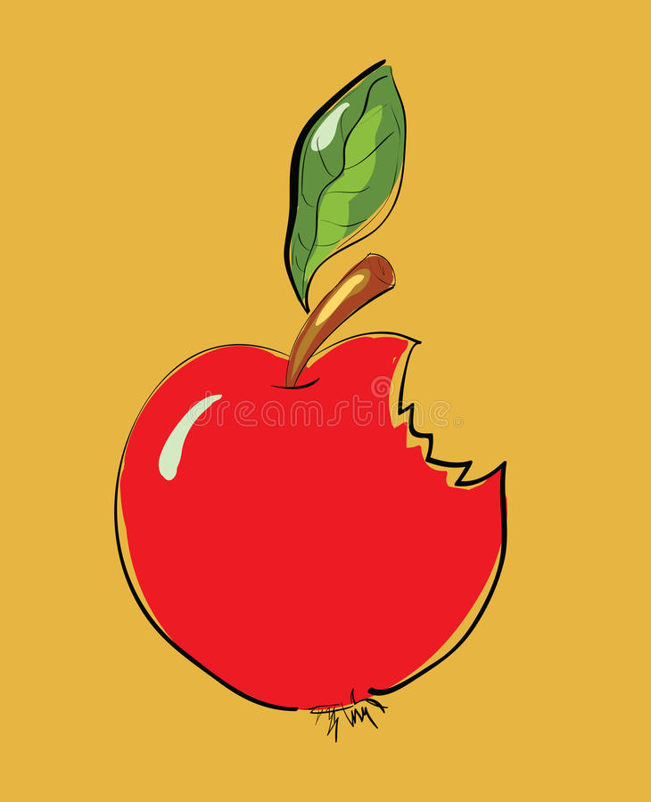 Gebeten Rood Apple-Beeldverhaal stock illustratie