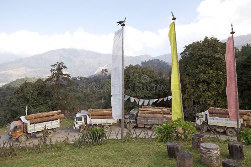 Gebetsflaggen und Lastwagen, Bhutan lizenzfreies stockbild