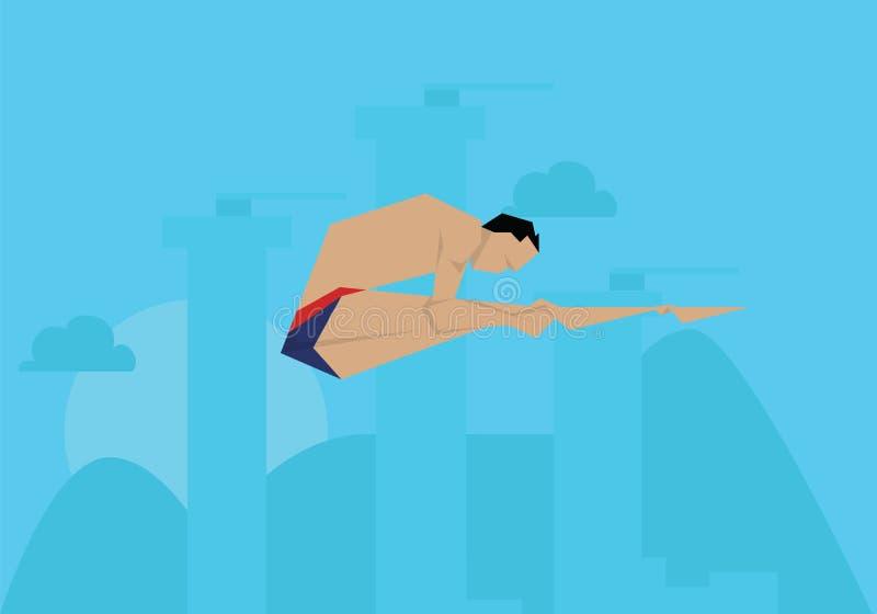 Gebeurtenis van Competing In Diving van de illustratie de Mannelijke Zwemmer stock illustratie