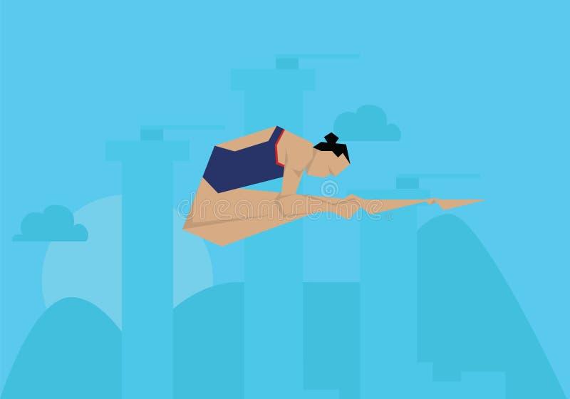 Gebeurtenis van Competing In Diving van de illustratie de Vrouwelijke Zwemmer stock illustratie