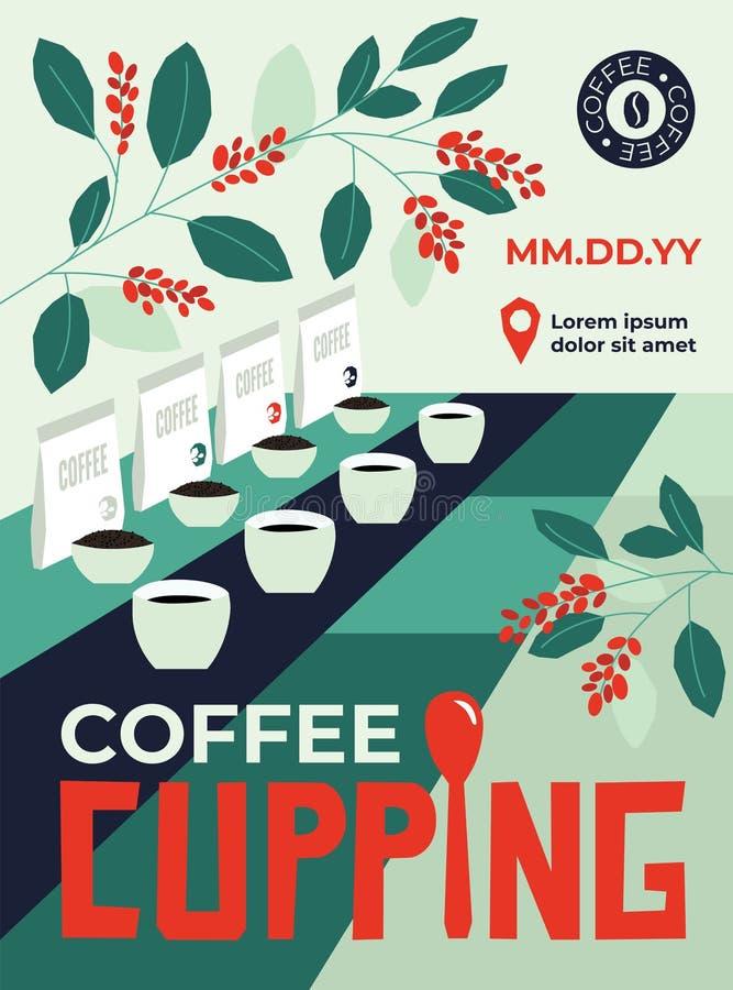 Gebeurtenisaffiche over Koffie het Tot een kom vormen vector illustratie