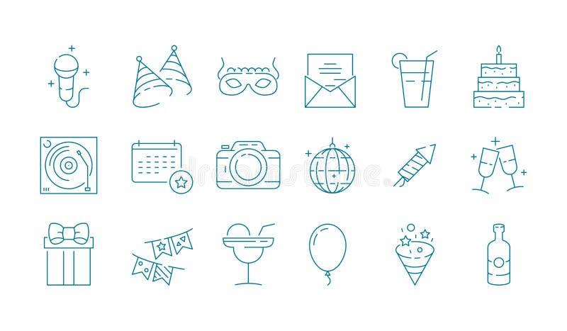 gebeurtenispictogram Van de de verjaardagsviering van het partijfestival van de het vermaakpret inzameling van de lijnsymbolen de stock illustratie