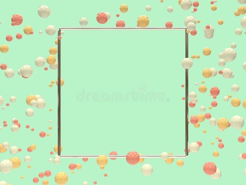 Gebied het vierkante zilveren kader 3d teruggeven stock illustratie