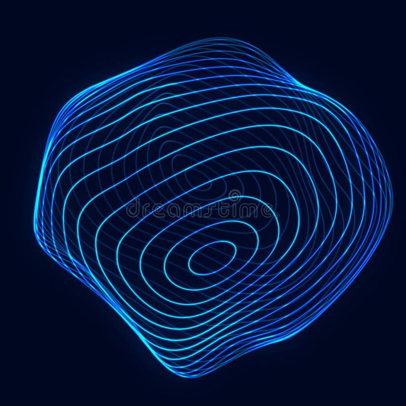 Gebied met draailijnen Achtergrond voor zakelijke gebeurtenis Het blauwe gebied van de Wireframetechnologie het 3d teruggeven royalty-vrije stock foto's