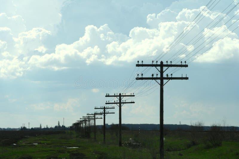 Gebied met electritypijlers stock fotografie