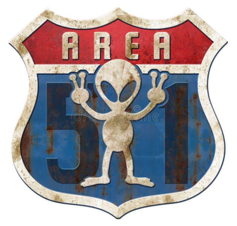 Gebied 51 Tin Higway Sign royalty-vrije illustratie