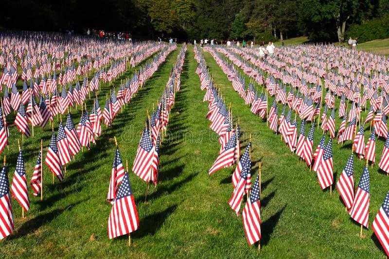 Gebied van Amerikaanse Vlaggen tijdens de Onafhankelijkheidsdag van de V.S. stock foto