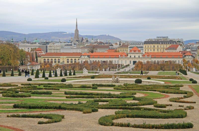 Gebied van park-tuin complexe Belvedere, Wenen stock afbeelding