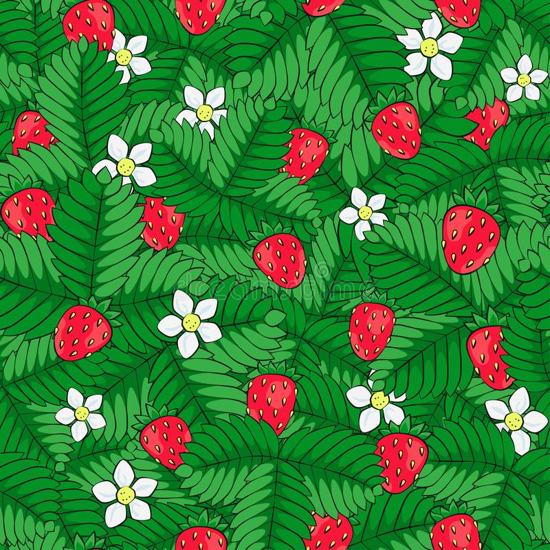 Gebied van wilde bosaardbei Naadloos patroon Getrokken hand stock illustratie