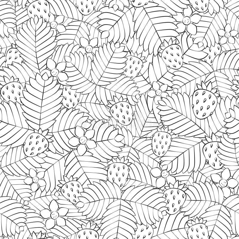 Gebied van wilde bosaardbei Naadloos patroon Getrokken hand lineair vector illustratie