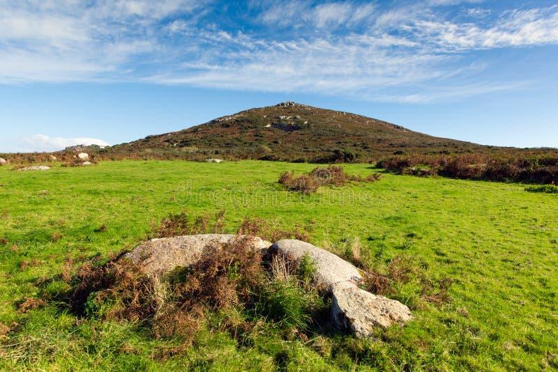 Gebieden en heuvelscornwall platteland Zennor dichtbij St Ives stock afbeeldingen