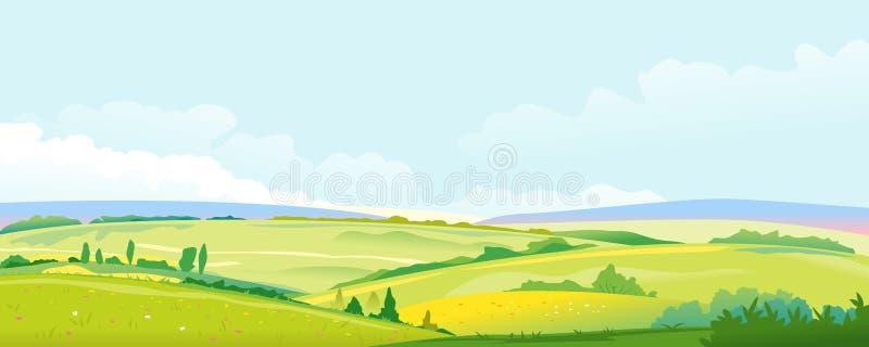 Gebieden en Weiden de Achtergrond van het Panoramalandschap royalty-vrije illustratie
