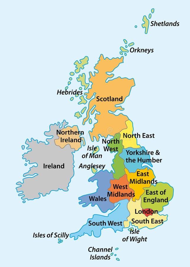 Gebieden van Engeland stock illustratie
