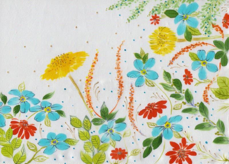 Gebiedsbloemen en kruiden - een decoratieve samenstelling op zijde batik Decoratieve samenstelling op een witte achtergrond Patro stock afbeelding