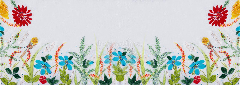 Gebiedsbloemen en kruiden - een decoratieve samenstelling op zijde batik Decoratieve samenstelling op een witte achtergrond Patro royalty-vrije stock foto