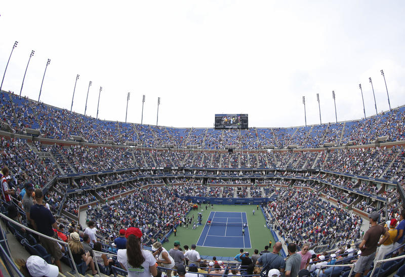 Gebiedsmening van Arthur Ashe Stadium in Billie Jean King National Tennis Center tijdens US Open 2013