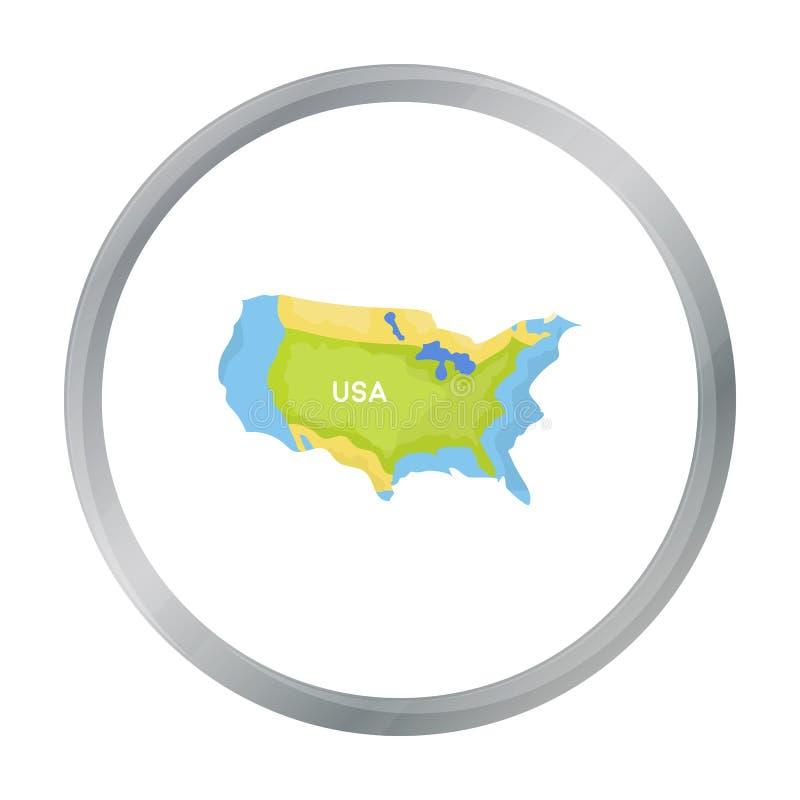 Gebiet der Ikone Vereinigter Staaten in der Karikaturart lokalisiert auf weißem Hintergrund lizenzfreie abbildung