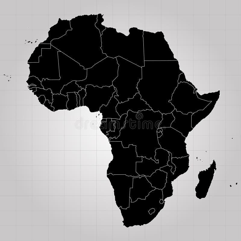 Gebiet von Afrika mit unterschiedlichen Ländern Grauer Hintergrund Auch im corel abgehobenen Betrag stock abbildung