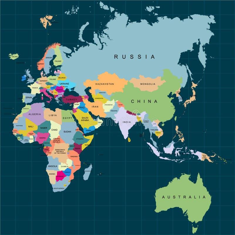 Gebiet von Kontinenten - Afrika Europa Asien Eurasien Australien Dunkler Hintergrund Auch im corel abgehobenen Betrag vektor abbildung