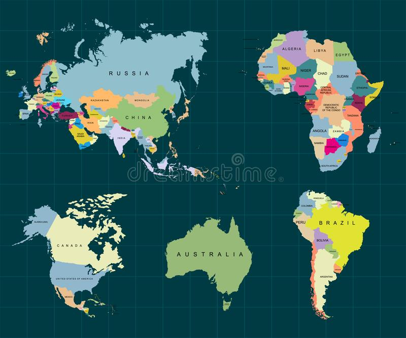 Gebiet von Kontinenten - Afrika Europa Asien Eurasien, Südamerika, Nordamerika, Australien Dunkler Hintergrund Vektor lizenzfreie abbildung