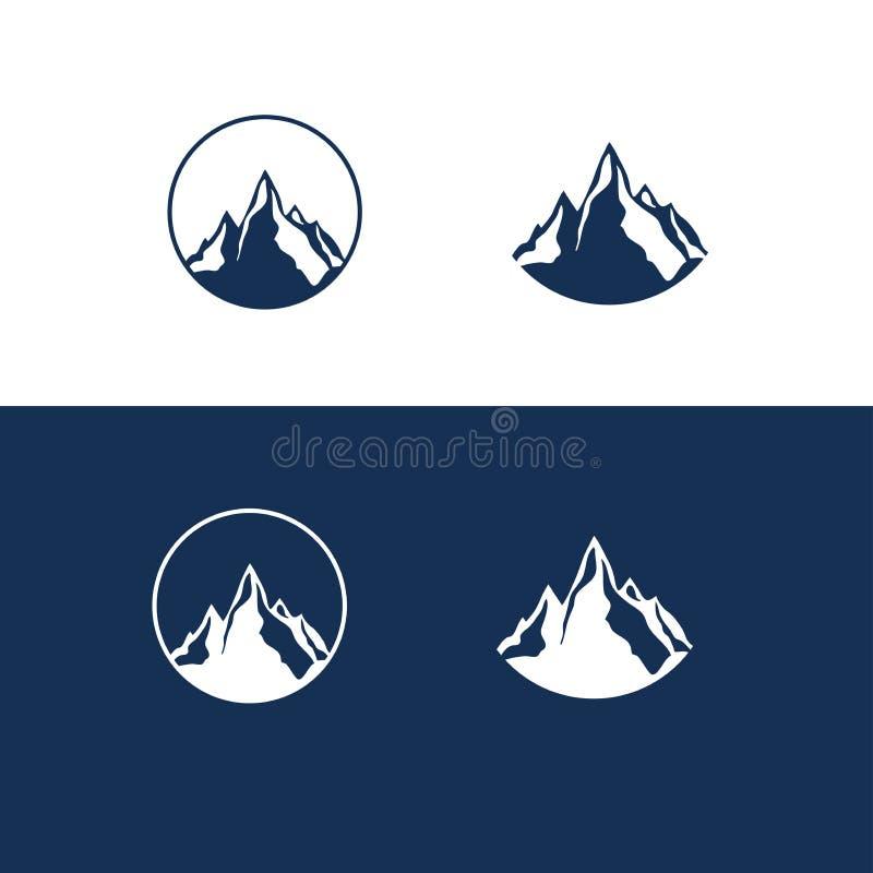 Gebirgs-und Felsen-flaches Logo lizenzfreies stockbild