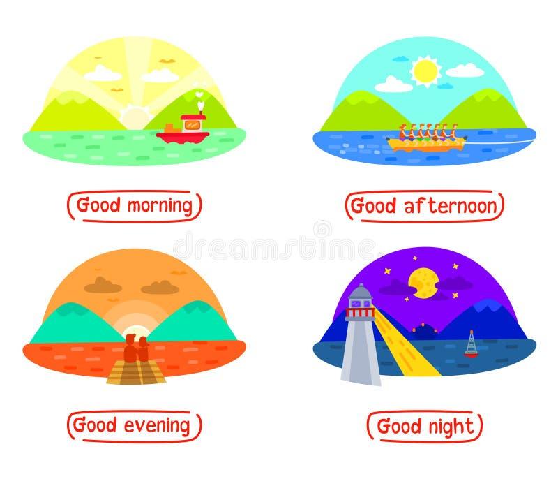 Gebirgs- und Seelandschaft in verschiedene Tageszeiten, guter Morgen, guter Nachmittag, guter Abend, gute Nacht Tag und Nacht Zei lizenzfreie abbildung