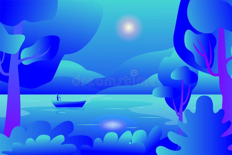Gebirgsblaue Tallandschaft Szenische Ansicht des Sees Fischer auf ruhigem Fluss herein Laubfall auf Wasser Freihändige Karikatur  vektor abbildung