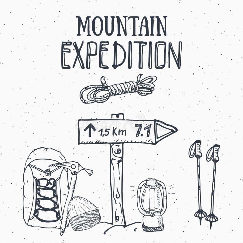 Gebirgsexpeditions-Weinlesesatz Übergeben Sie gezogene Skizzenelemente für Retro- Ausweisemblem, wanderndes Abenteuer im Freien u vektor abbildung