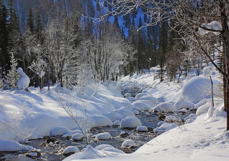 Gebirgsfluß im Winter lizenzfreies stockbild