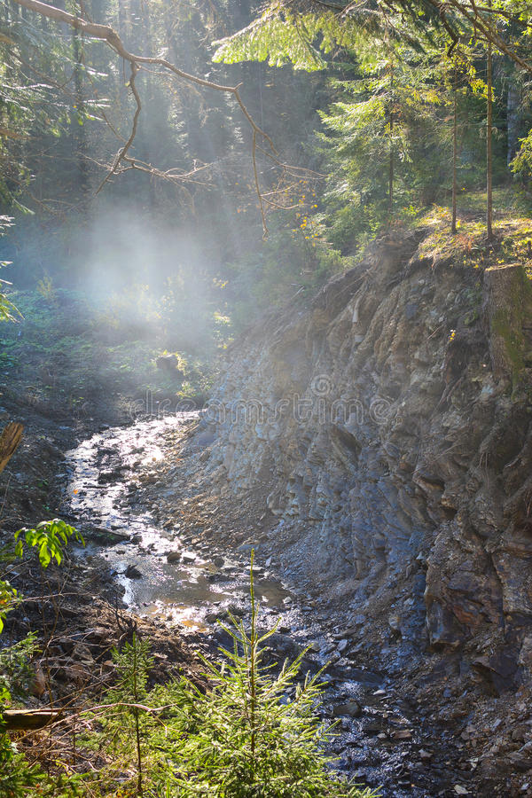 Gebirgsfluss, Nebel und Felsen von Karpatenbergen in Ukraine lizenzfreie stockbilder