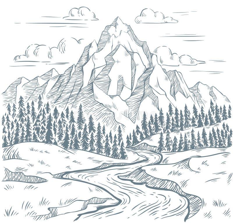 Gebirgsflussstich Freienreise, Bergabenteuer und Schlangenflussweinlesehandgezogener Landschaftsvektor vektor abbildung