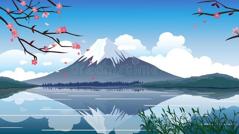 Gebirgsfrühlings-Vektor-Illustration Japans Fuji lizenzfreie abbildung