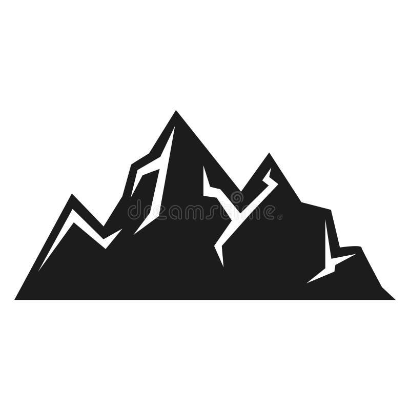 Gebirgsikone, Expedition und Sportschwarzschattenbild lizenzfreie abbildung