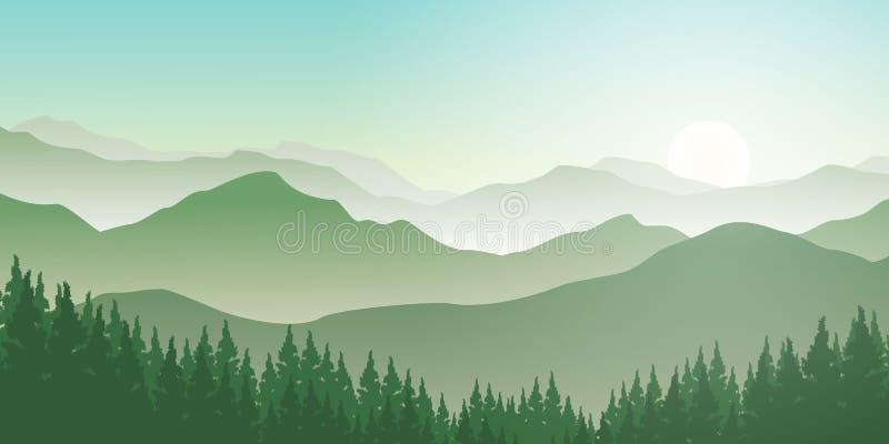 Gebirgslandschaft mit Kiefernwald und -sonnenaufgang lizenzfreie abbildung