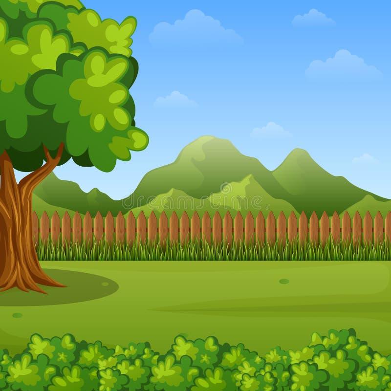 Gebirgslandschaft mit Zaun und Bäumen vektor abbildung