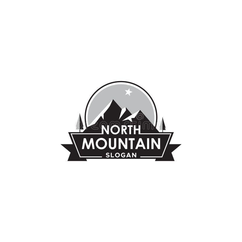 Gebirgslogo mit Nordstern-, Aufkleber- oder Ausweisvektorgestaltungselement stock abbildung