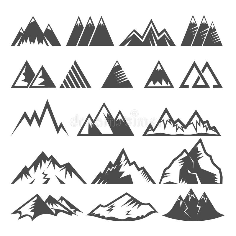 Gebirgslogovektormontage-Firmenzeichenspitze des Bergs und der Wintergebirgstäler, die Bergsteigenklettern wandern vektor abbildung