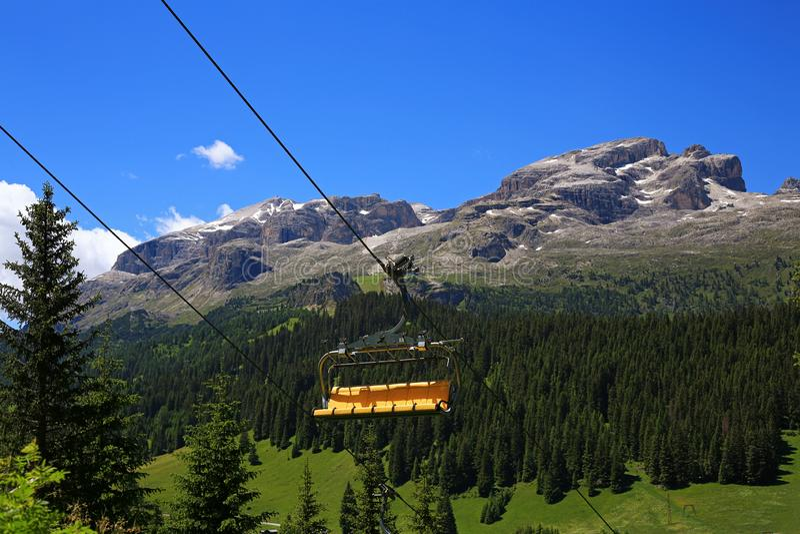 Gebirgsmassiv Sella Ronda von Passo Gardena lizenzfreies stockfoto