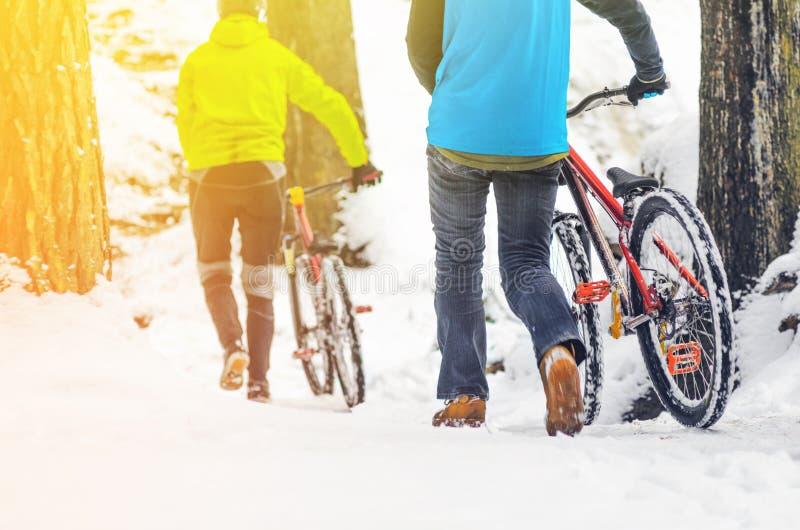 Gebirgsradfahren in schneebedeckten Wald stockfotografie