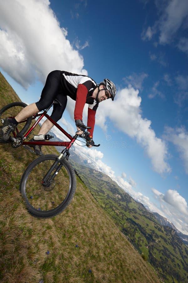 Gebirgsradfahrer mit Ansicht lizenzfreie stockfotos