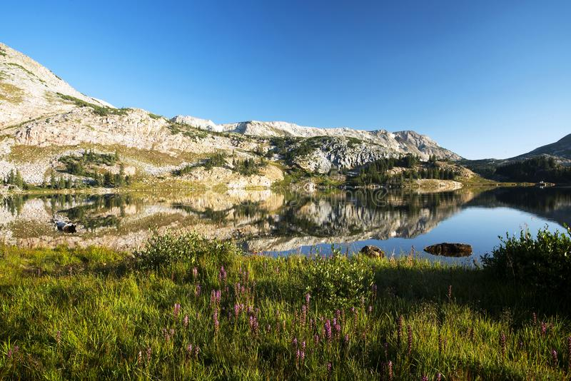 Gebirgsreflexionen bei Libby Lake lizenzfreies stockbild