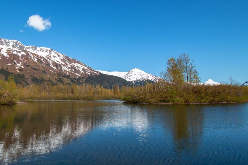 Gebirgsreflexionen am Elch-Ebenen-Sumpfgebiet und an Portage-Nebenfluss in Turnagain-Arm nahe Anchorage Alaska USA lizenzfreie stockfotos