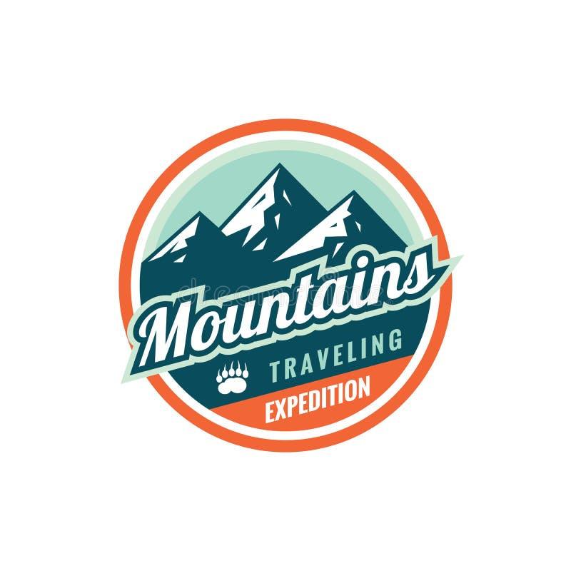 Gebirgsreisende Expedition - Konzeptausweis Kletterndes Logo in der flachen Art Extremes Erforschungsaufklebersymbol Abenteuer im vektor abbildung