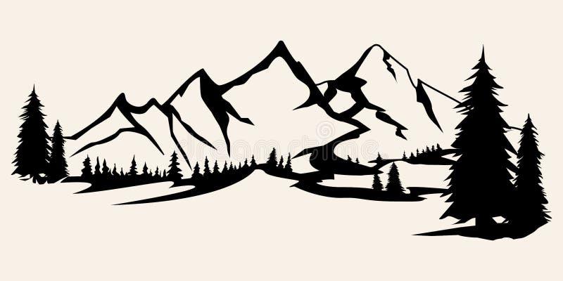 Gebirgsschattenbilder Berge Vektor, Gebirgsvektor von Gestaltungselementen im Freien, Gebirgslandschaft, Bäume, Kiefernvektor, lizenzfreies stockfoto