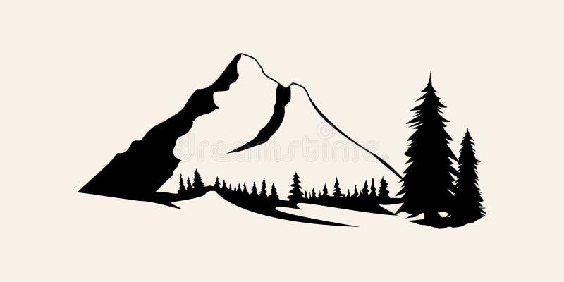 Gebirgsschattenbilder Berge Vektor, Gebirgsvektor von Gestaltungselementen im Freien, Gebirgslandschaft, Bäume, Kiefernvektor, stockfotos