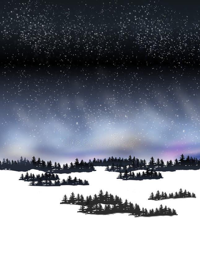 Gebirgsschnee-Nachtlandschaft mit nordischem Glanz lizenzfreie abbildung